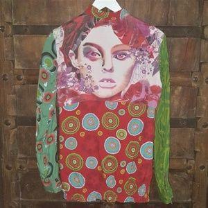 Multi-print multi-color elastic waist top tunic